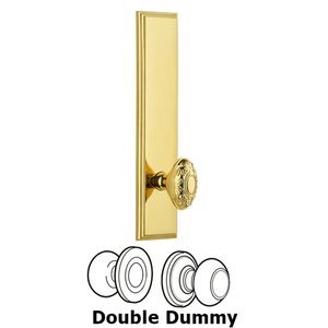 Grandeur Door Hardware - Carre - ' Tall Plate Double Dummy with Grande Victorian Knob in Lifetime Brass