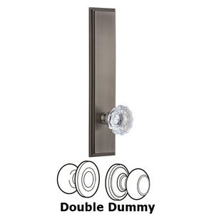 Grandeur Door Hardware ' Tall Plate Double Dummy with Fontainebleau Knob in Antique Pewter