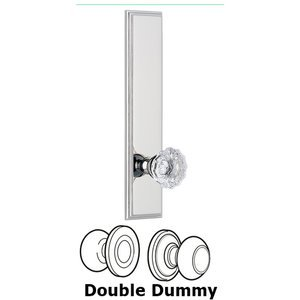 Grandeur Door Hardware - Carre - ' Tall Plate Double Dummy with Fontainebleau Knob in Bright Chrome