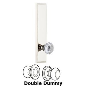 Grandeur Door Hardware - Carre - ' Tall Plate Double Dummy with Fontainebleau Knob in Polished Nickel