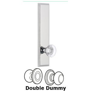 Grandeur Door Hardware - Carre - ' Tall Plate Double Dummy with Bordeaux Knob in Bright Chrome