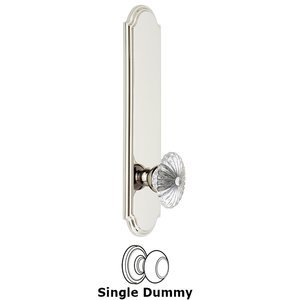 Grandeur Door Hardware - Arc - Tall Plate Dummy with Burgundy Knob in Polished Nickel