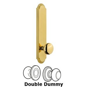 Grandeur Door Hardware - Arc - Tall Plate Double Dummy with Fifth Avenue Knob in Polished Brass