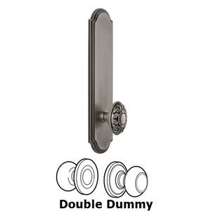 Grandeur Door Hardware - Arc - Tall Plate Double Dummy with Grande Victorian Knob in Antique Pewter