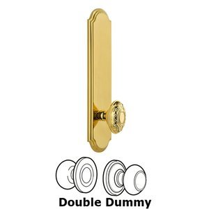 Grandeur Door Hardware - Arc - Tall Plate Double Dummy with Grande Victorian Knob in Lifetime Brass