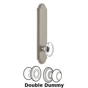 Grandeur Door Hardware - Arc - Tall Plate Double Dummy with Provence Knob in Satin Nickel