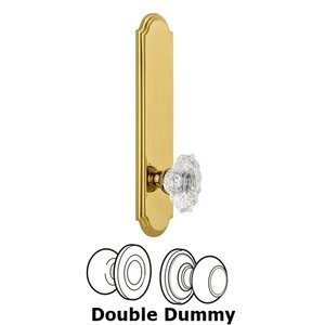 Grandeur Door Hardware - Arc - Tall Plate Double Dummy with Biarritz Knob in Polished Brass