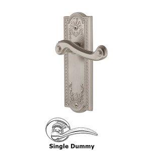 Grandeur Door Hardware Single Dummy Parthenon Plate with Newport Right Handed Lever in Satin Nickel