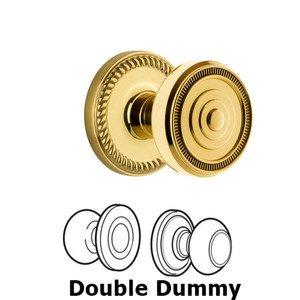 Grandeur Door Hardware Grandeur Newport Plate Double Dummy with Soleil Knob in Polished Brass