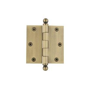 """Grandeur Door Hardware 3 1/2"""" Ball Tip Residential Hinge with Square Corners in Vintage Brass"""