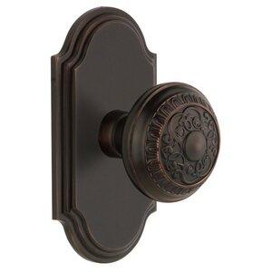 Grandeur Door Hardware Grandeur Arc Plate Passage with Windsor Knob in Timeless Bronze