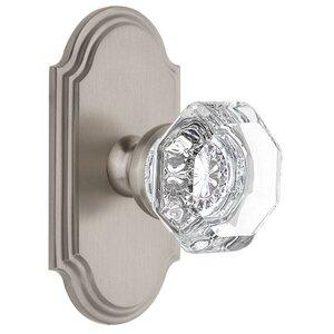 Grandeur Door Hardware Grandeur Arc Plate Passage with Chambord Crystal Knob in Satin Nickel