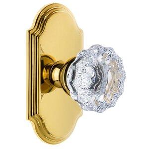 Grandeur Door Hardware Grandeur Arc Plate Passage with Fontainebleau Crystal Knob in Polished Brass
