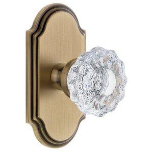 Grandeur Door Hardware Grandeur Arc Plate Passage with Versailles Crystal Knob in Vintage Brass