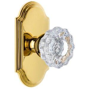 Grandeur Door Hardware Grandeur Arc Plate Passage with Versailles Crystal Knob in Lifetime Brass