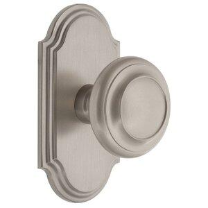 Grandeur Door Hardware Grandeur Arc Plate Passage with Circulaire Knob in Satin Nickel