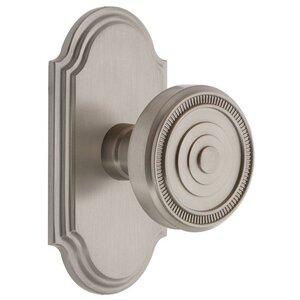 Grandeur Door Hardware Grandeur Arc Plate Passage with Soleil Knob in Satin Nickel