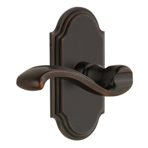 Grandeur Door Hardware Grandeur Arc Plate Dummy with Portofino Lever in Timeless Bronze