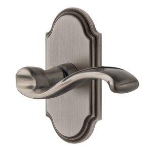 Grandeur Door Hardware Grandeur Arc Plate Dummy with Portofino Lever in Antique Pewter