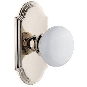 Grandeur Door Hardware Arc Plate Dummy with Hyde Park White Porcelain Knob in Polished Nickel