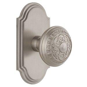Grandeur Door Hardware Grandeur Arc Plate Dummy with Windsor Knob in Satin Nickel