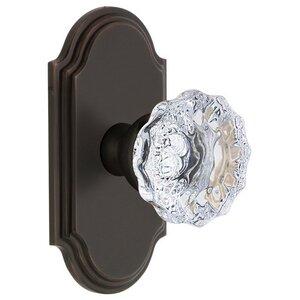 Grandeur Door Hardware Grandeur Arc Plate Dummy with Fontainebleau Crystal Knob in Timeless Bronze