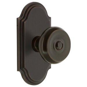 Grandeur Door Hardware Grandeur Arc Plate Dummy with Bouton Knob in Timeless Bronze
