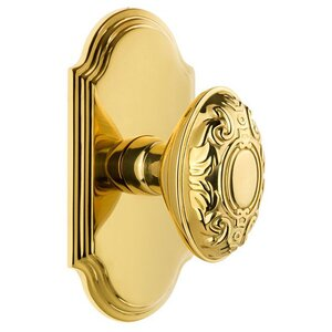 Grandeur Arc Plate Double Dummy with Grande Victorian Knob in Polished Brass