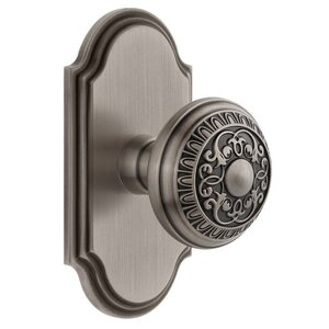 Grandeur Arc Plate Double Dummy with Windsor Knob in Antique Pewter
