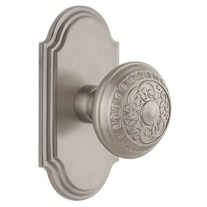 Grandeur Arc Plate Double Dummy with Windsor Knob in Satin Nickel