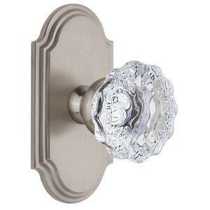 Grandeur Door Hardware Grandeur Arc Plate Double Dummy with Fontainebleau Crystal Knob in Satin Nickel
