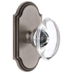 Grandeur Door Hardware Grandeur Arc Plate Double Dummy with Provence Crystal Knob in Antique Pewter