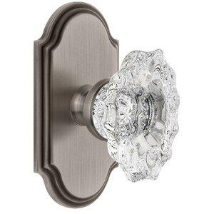 Grandeur Door Hardware Grandeur Arc Plate Double Dummy with Biarritz Crystal Knob in Antique Pewter