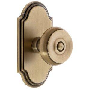 Grandeur Door Hardware Grandeur Arc Plate Double Dummy with Bouton Knob in Vintage Brass
