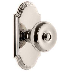 Grandeur Door Hardware Grandeur Arc Plate Double Dummy with Bouton Knob in Polished Nickel