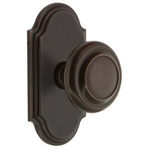 Grandeur Door Hardware Grandeur Arc Plate Double Dummy with Circulaire Knob in Timeless Bronze