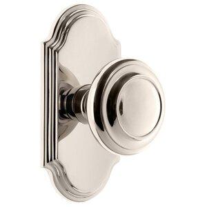 Grandeur Door Hardware Grandeur Arc Plate Double Dummy with Circulaire Knob in Polished Nickel
