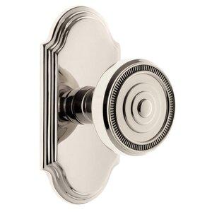 Grandeur Door Hardware Grandeur Arc Plate Double Dummy with Soleil Knob in Polished Nickel