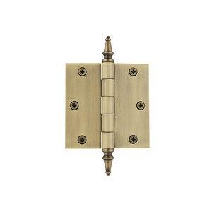 """Grandeur Door Hardware 3 1/2"""" Steeple Tip Residential Hinge with Square Corners in Vintage Brass"""