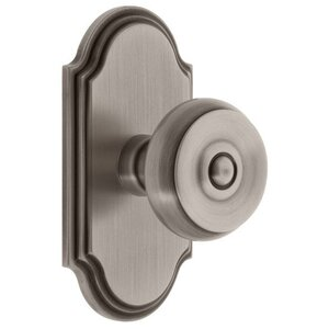 Arc   Grandeur Arc Plate Passage With Bouton Knob In Antique Pewter    Grandeur Door Hardware