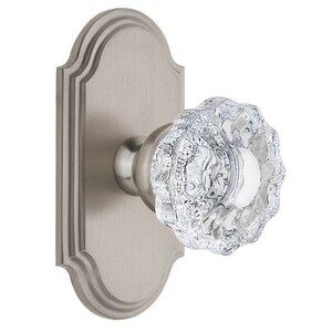 Grandeur Door Hardware Grandeur Arc Plate Passage with Versailles Crystal Knob in Satin Nickel