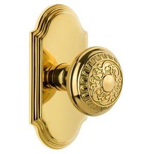 Grandeur Door Hardware Grandeur Arc Plate Passage with Windsor Knob in Polished Brass
