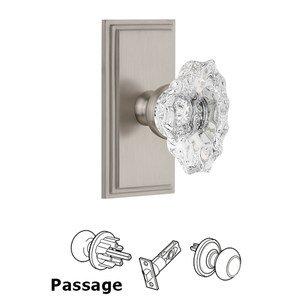 Grandeur Door Hardware Grandeur Carre Plate Passage with Biarritz Crystal Knob in Satin Nickel