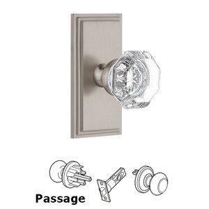 Grandeur Door Hardware Grandeur Carre Plate Passage with Chambord Crystal Knob in Satin Nickel