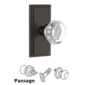 Grandeur Door Hardware Grandeur Carre Plate Passage with Chambord Crystal Knob in Timeless Bronze