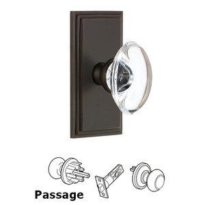 Grandeur Door Hardware Grandeur Carre Plate Passage with Provence Crystal Knob in Timeless Bronze