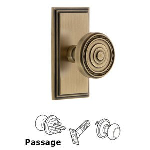 Grandeur Door Hardware Grandeur Carre Plate Passage with Soleil Knob in Vintage Brass