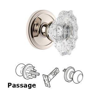 Grandeur Door Hardware Grandeur Circulaire Rosette Passage with Biarritz Crystal Knob in Polished Nickel