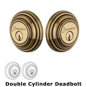 Grandeur Door Hardware Grandeur Double Cylinder Deadbolt with Georgetown Plate in Vintage Brass