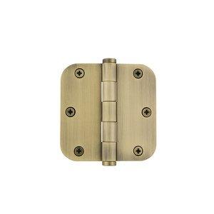 "Grandeur Door Hardware 3 1/2"" Button Tip Residential Hinge with 5/8"" Radius Corners in Vintage Brass"